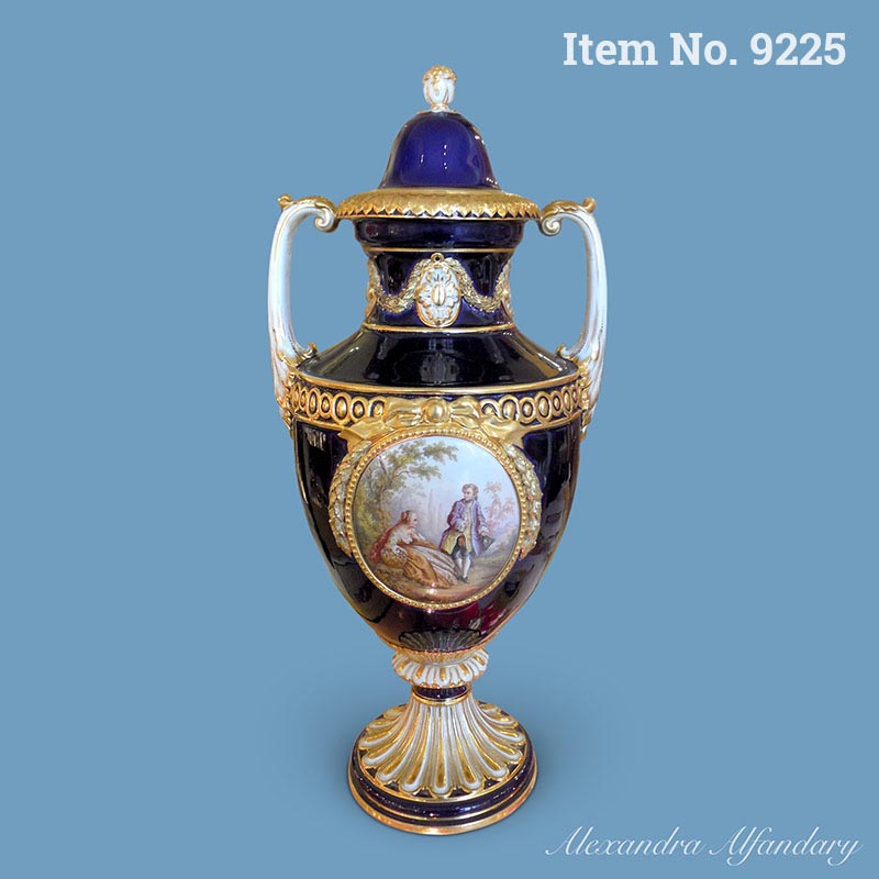 A Finely Decorated Cobalt Blue Meissen Vase with Lid