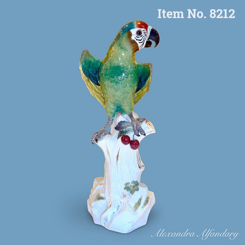 Item No. 8212: A Large Meissen Parrot Sitting On Tree Trunk, ca. 1870-80