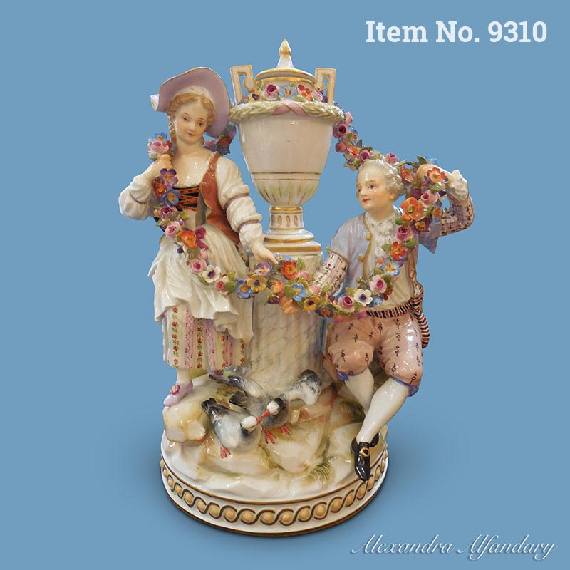 A Beautifully Modelled Meissen Group of Lovers with Flower Garlands, ca. 1880-1900