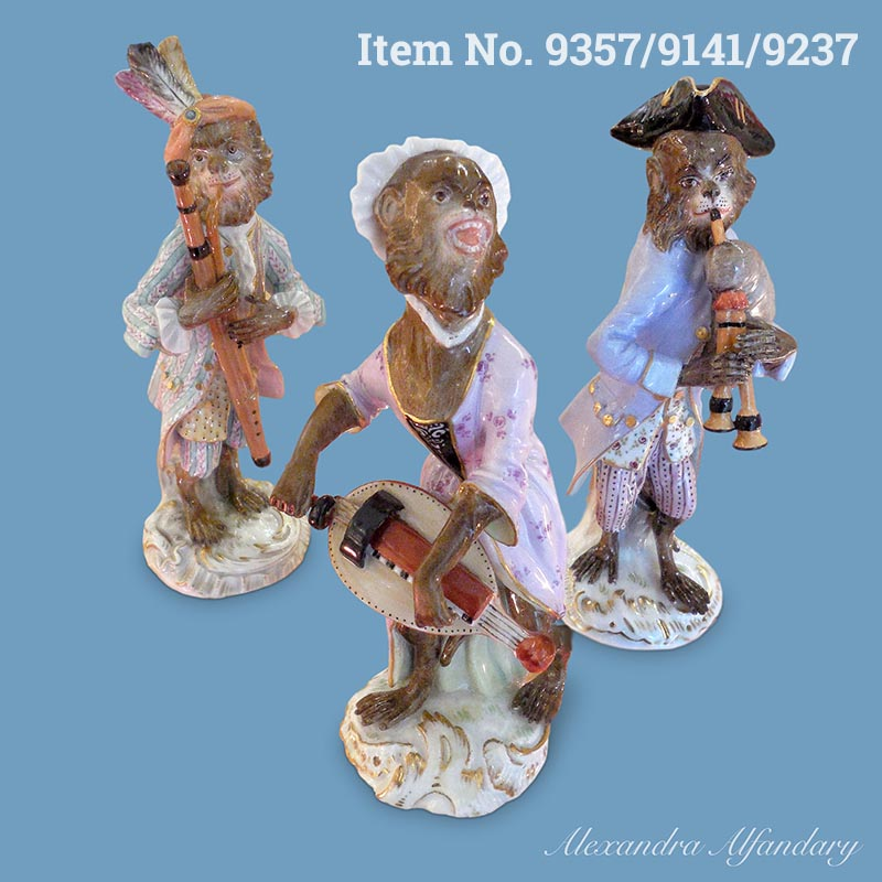 Items No. 9357/9141/9237: Three Meissen Porcelain Monkey Musicians from The Meissen Monkey Band, ca. 1880