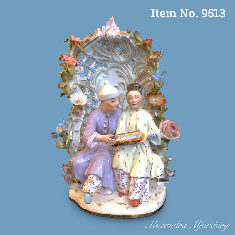 Item No 9513: A Charming Meissen Porcelain Group Sitting In  An Arbour, ca. 1890-1900