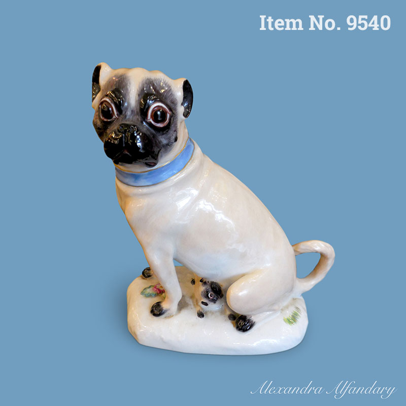 Item No 9540: A Meissen porcelain Pug with Puppy, ca. 1968