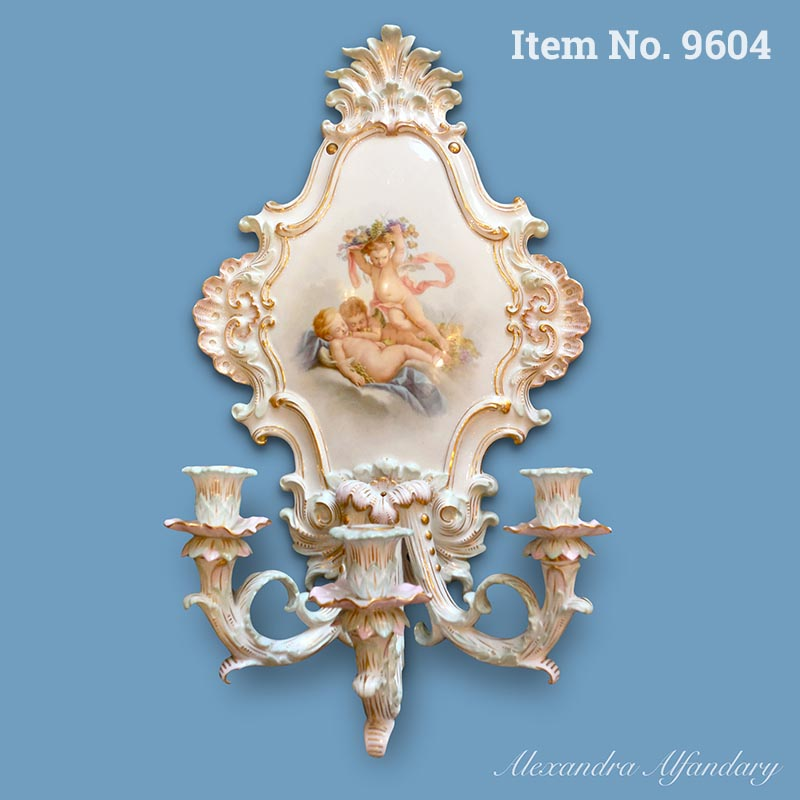 Item No. 9604: A Charming Meissen Wall Sconce with Putti at Play, ca. 1880