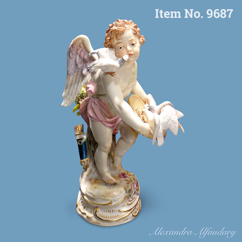 Item No. 9687: Meissen Figure Of Cupid With Doves, ca. 1890