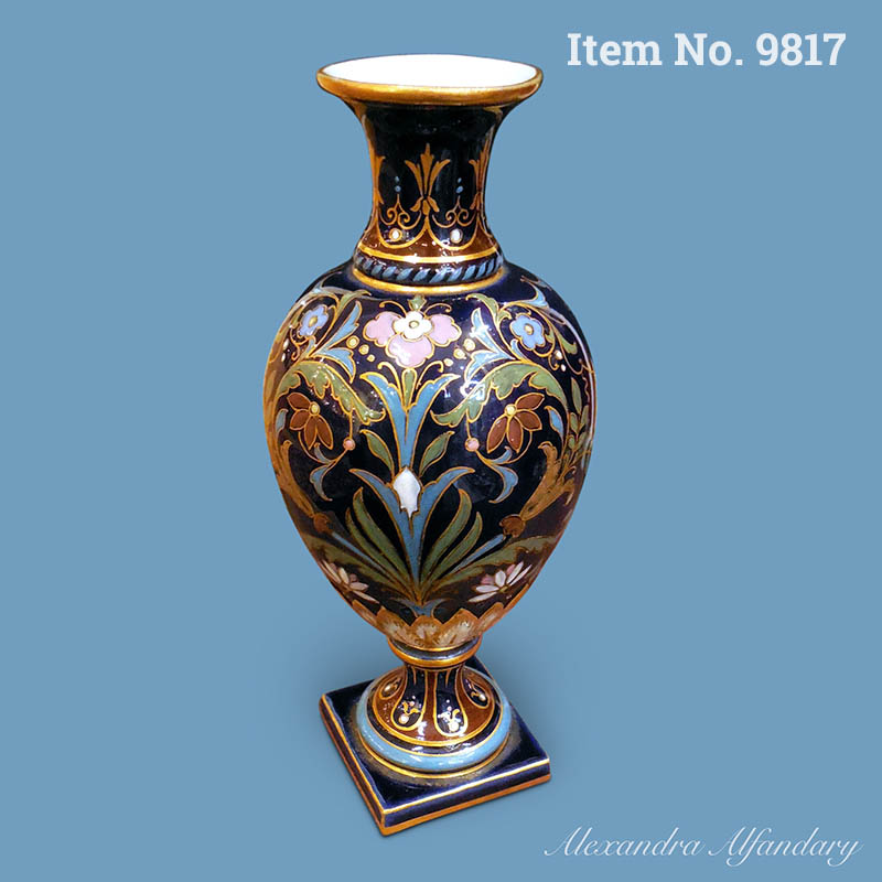 Item No. 9817: A Superb and Unusual Meissen Art Nouveau Vase with Enamel Decoration, ca. 1880