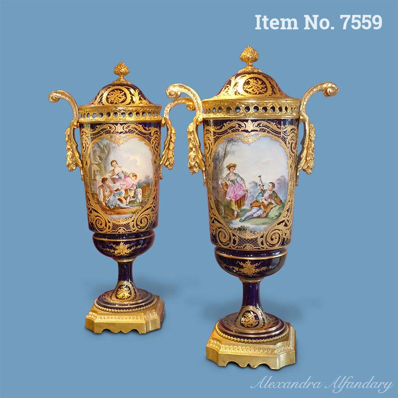A Very Decorative Pair of French Vases in the Sèvres Style