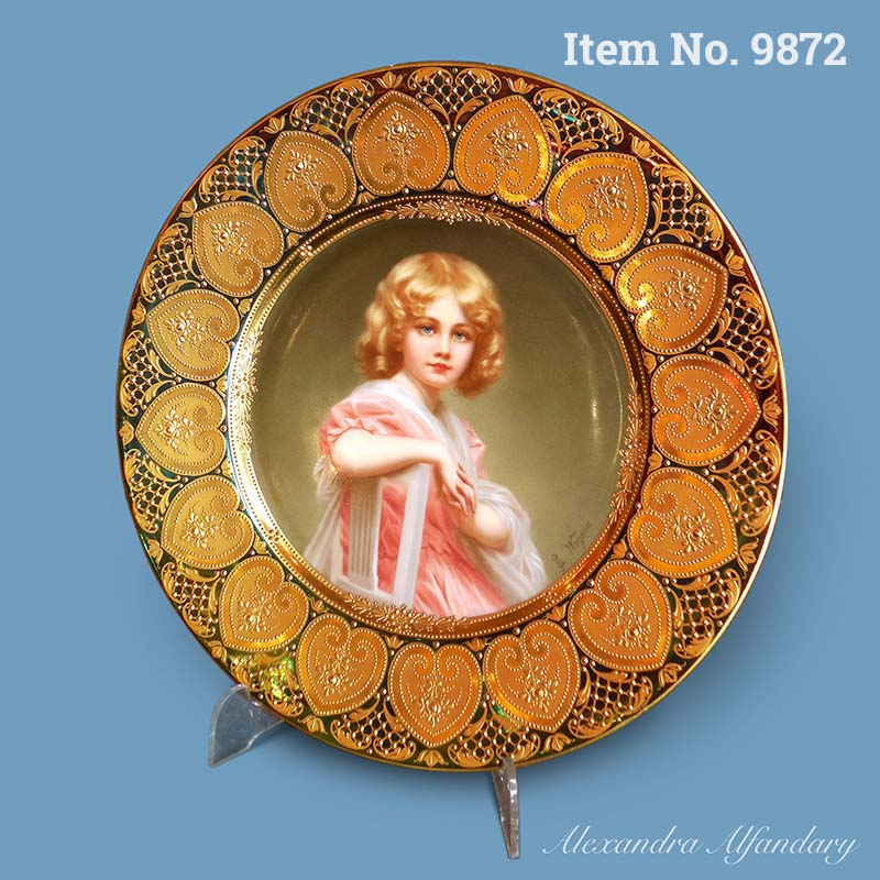 Item No. 9872: A Beautifully Painted Portrait Plate of a Young Girl signed B. Wagner, ca. 1910
