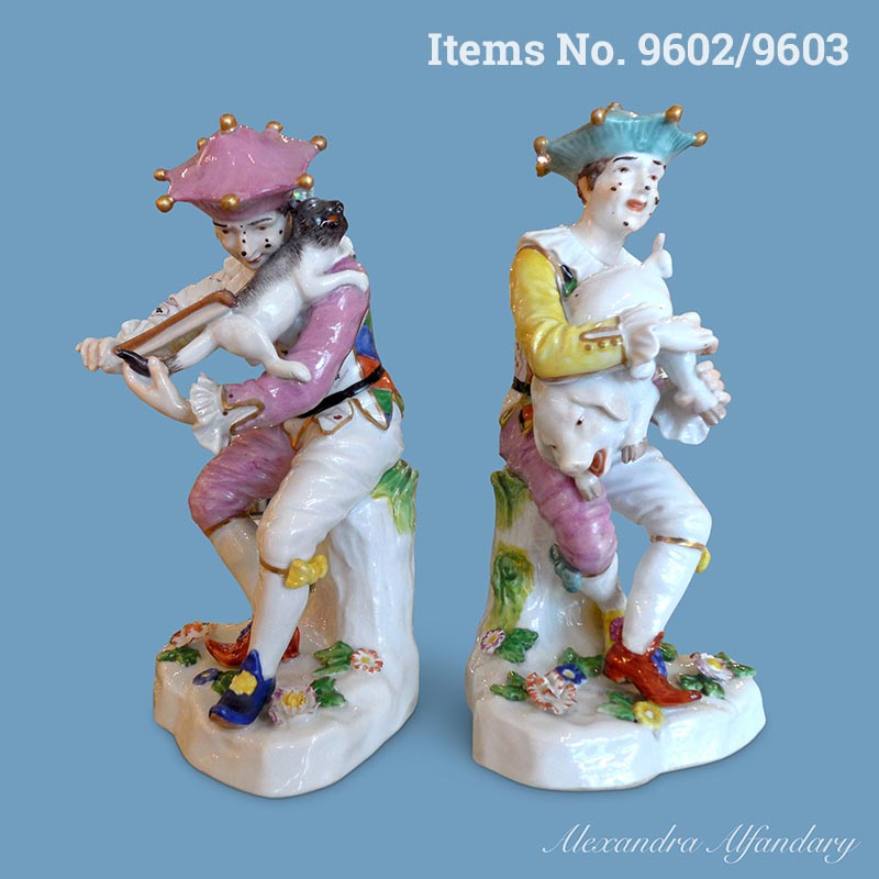 Items No. 9602/9603: A Pair of Amusing Harlequin Figures With Animals Making Music, Austrian, early 19th Century