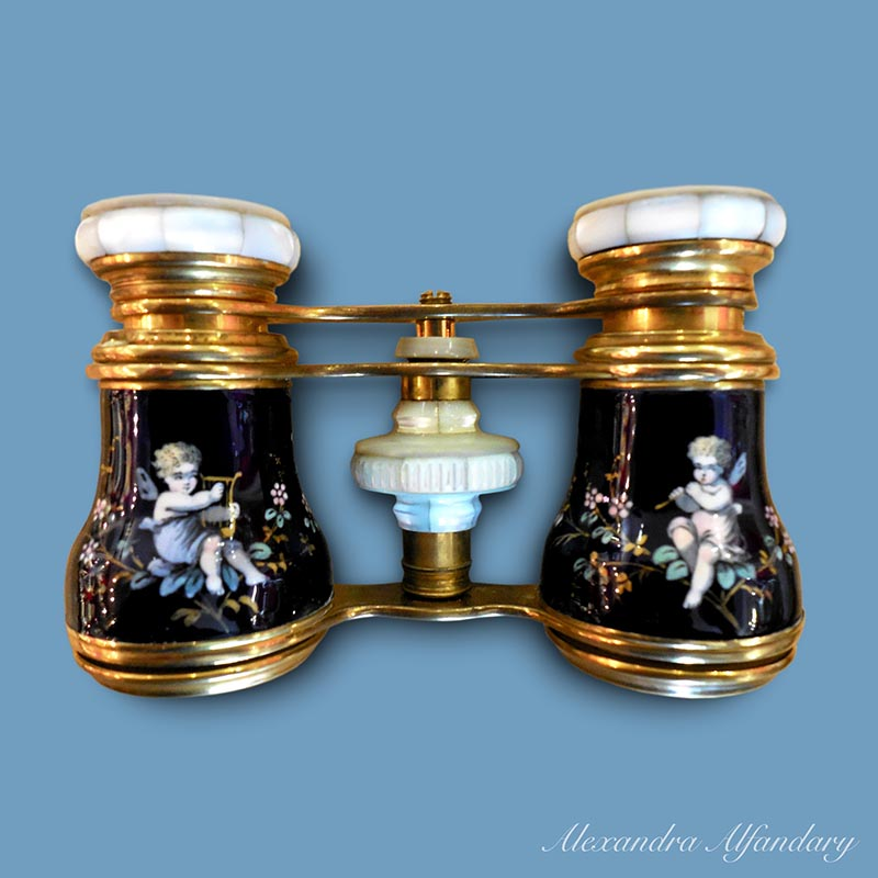 A Pair of Good French Limoges Opera glasses, ca. 1890-1900