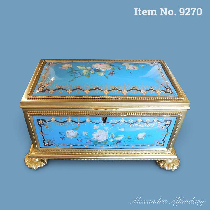 A Fine late 19th Century French Enamel Box with Painted Flowers, ca. 1900