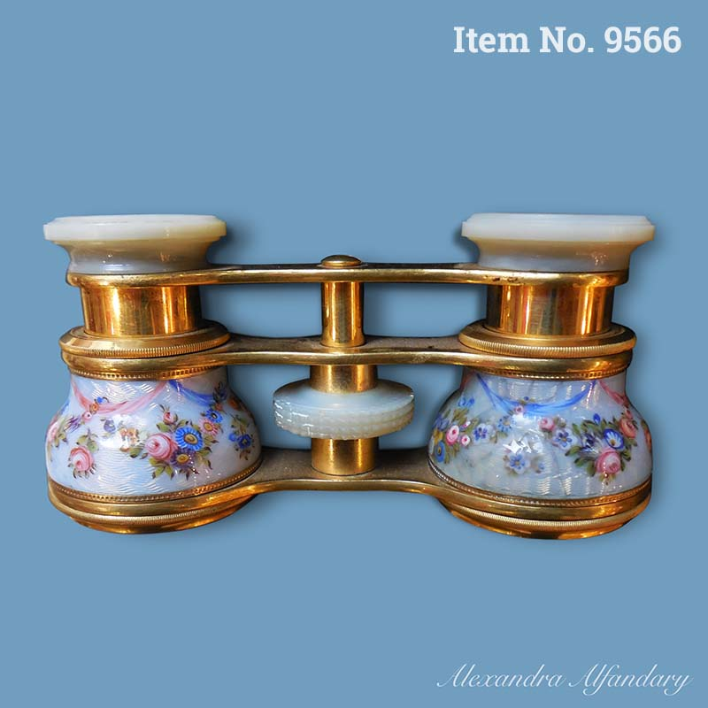 Item No. 9566: A Small Pair of  Charming French Enamel Opera Glasses, ca. 1890-1900