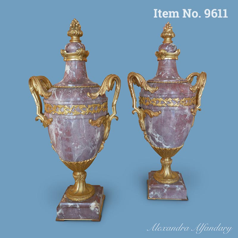 Item No. 9611: A Pair of Highly Decorative French Gilt Bronze and Breche Pink Marble Vases and Covers